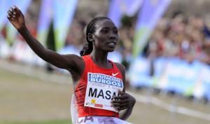 Linet Masai entrando en meta